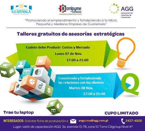 Talleres Gratuitos de Asesor�as Estrat�gicas - Asociaci�n de Gerentes de Guatemala - Centro AGG-PROMIPYME